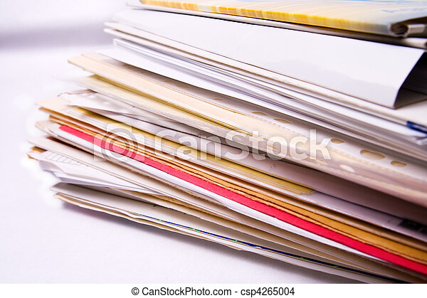 desordenado, carpetas, documento, pila - csp4265004