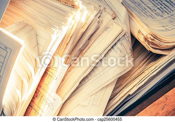 desordenado, documentos, papel, sucio - csp25600455