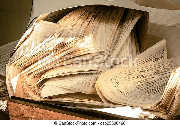 desordenado, documentos, papel, sucio - csp25600460