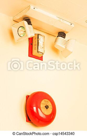 despeça parede, alarme, vermelho, sino - csp14543340