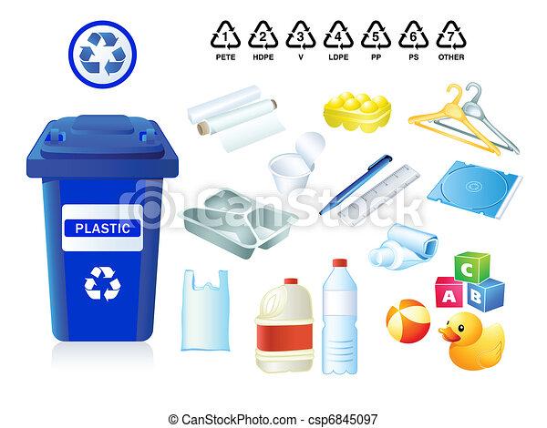 Desechos de plástico y basura - csp6845097