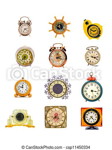 Un reloj de colección variado y una colección de despertadores en blanco - csp11450334