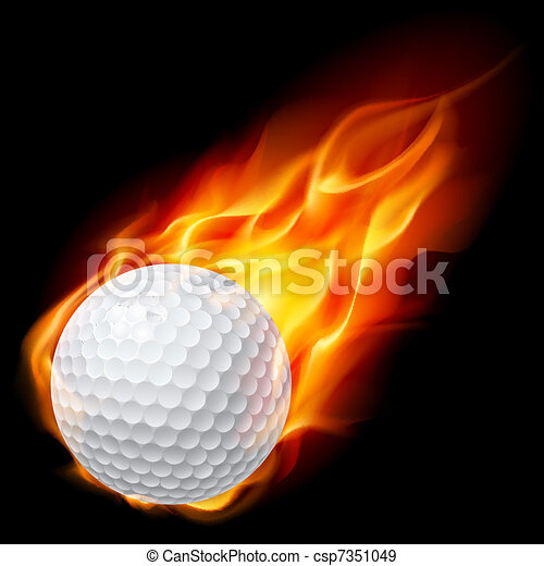 Bola de golf en llamas - csp7351049