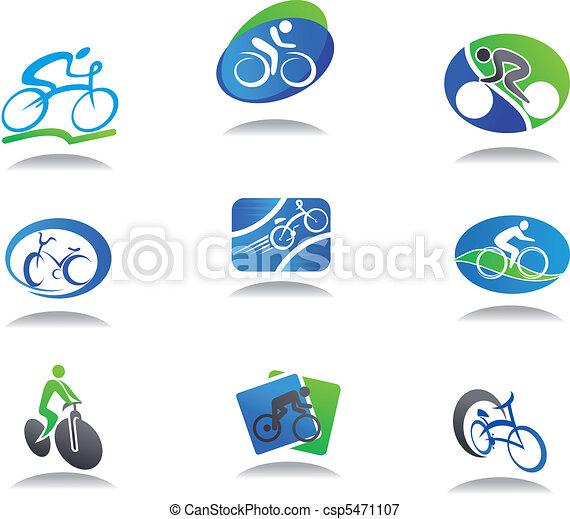 desporto, bicicleta, ícones - csp5471107