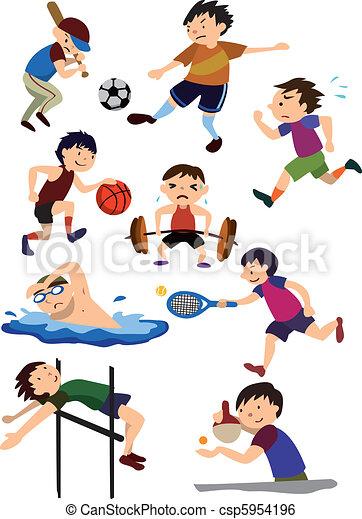 desporto, caricatura, ícone - csp5954196