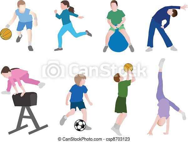 desporto, crianças, ilustração - csp8703123