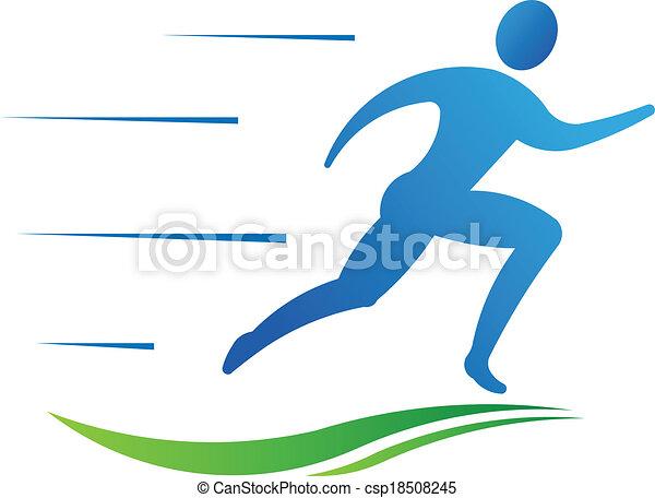 desporto, homem, condicão física, executando, fast. - csp18508245