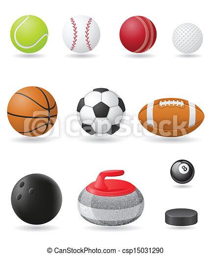 desporto, vetorial, jogo, bolas, ícones - csp15031290