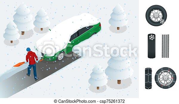 después, ciudad, vector, limpieza, exterior, coche, blizzard., ilustración, el suyo, traspatio, cubierto, nieve, coche., isométrico, pala, hombre, snow., llenado - csp75261372