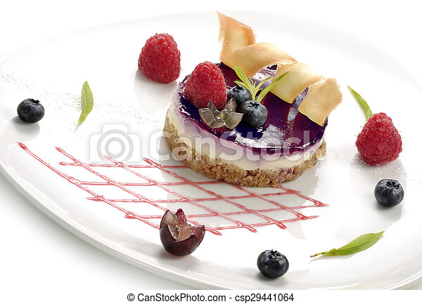 dessert, cheesecake with berries - csp29441064