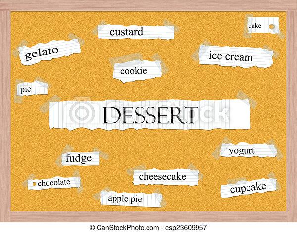 Dessert Corkboard Word Concept - csp23609957