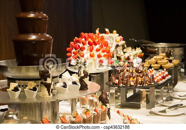 Decorated Dessert Corner At A Buffet Restaurant