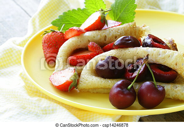 dessert crepes with berries - csp14246878