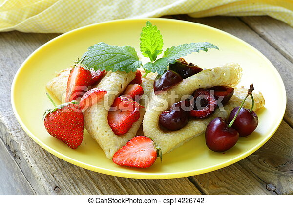 dessert crepes with berries - csp14226742