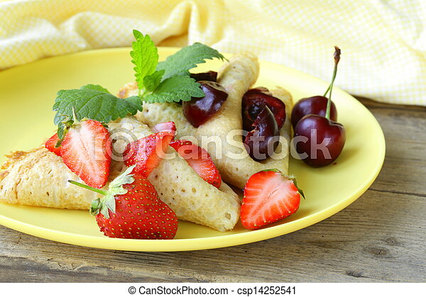 dessert crepes with berries - csp14252541