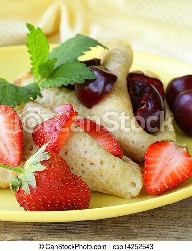 dessert crepes with berries - csp14252543