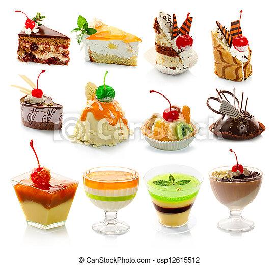 dessert, delicous, bianco, isolato, collezione - csp12615512