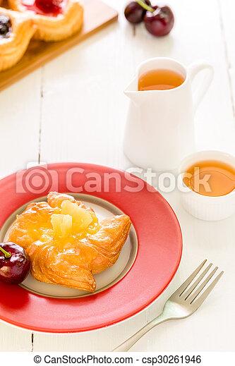 Dessert for Tea Background / Dessert for Tea / Fruit Pastry Dessert for Tea Background - csp30261946