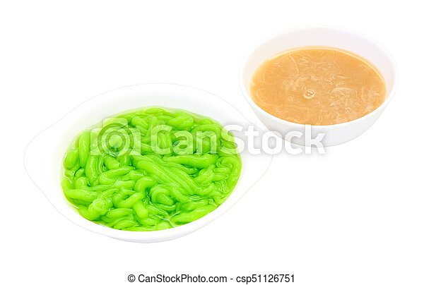 Dessert, Lod Chong and in coconut milk on white background. - csp51126751