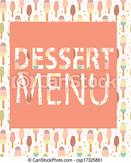 dessert menu template vector illustration