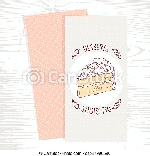 dessert menu template with hand drawn vanilla cake in vector doodle