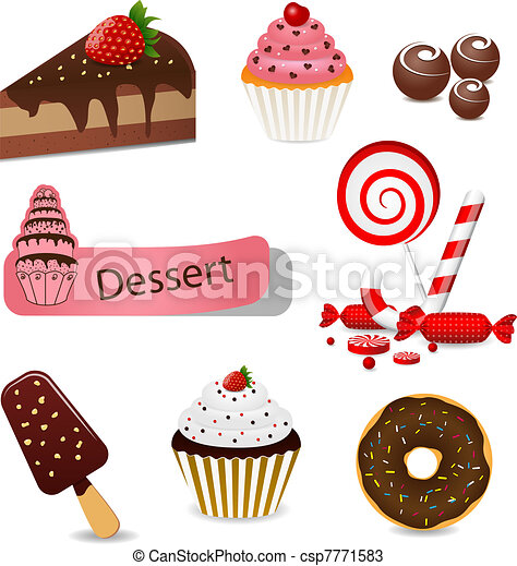 Dessert set. Vector set with different types of sweets.