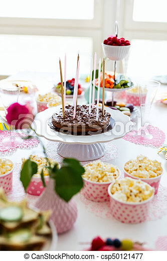 Terrific Dessert Table At Party Cake Candies Marshmallows Popcorn Funny Birthday Cards Online Overcheapnameinfo