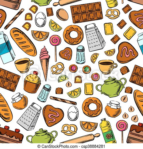 Desserts And Kitchen Utensils Seamless Background Desserts And