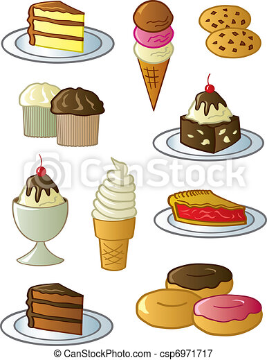 Desserts And Sweets Assorted Fun Desserts And Sweets Drawn In A Fun