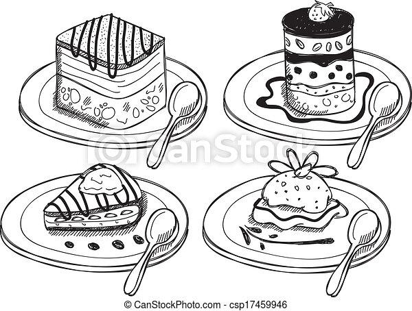 Desserts doodle eps vector search clip art illustration - Dessert dessin ...