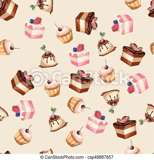 Desserts seamless pattern. - csp49887657