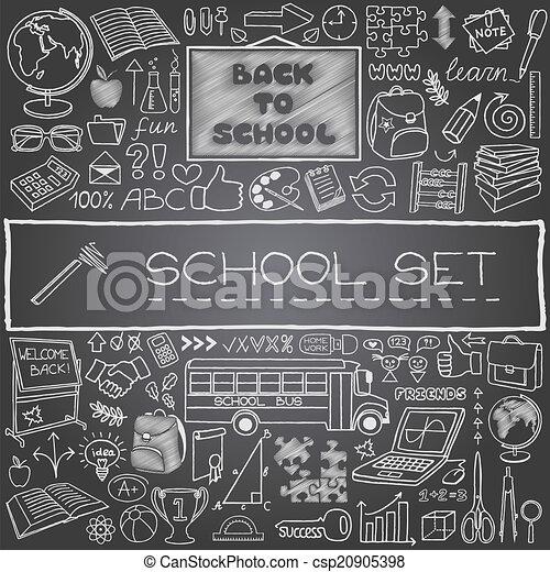 dessiné, école, main, icônes - csp20905398