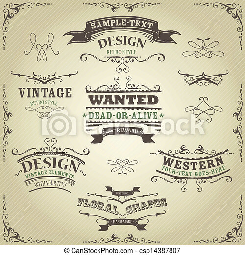 dessiné, bannières, rubans, occidental, main - csp14387807