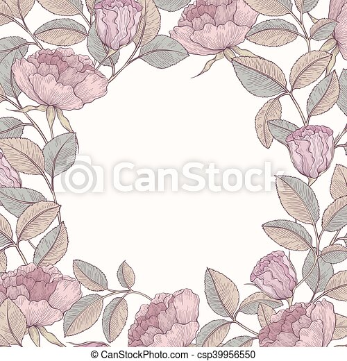 dessiné, cadre, main, jardin, rose - csp39956550