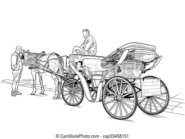 dessin cheval voiture voiture cheval hommes deux clipart vectoriel rechercher. Black Bedroom Furniture Sets. Home Design Ideas