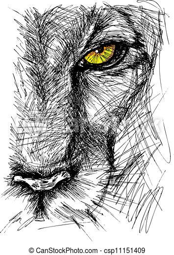 dessiné, croquis, lion, main - csp11151409