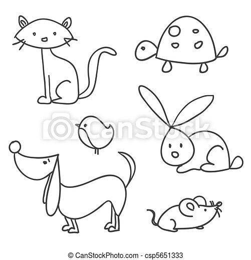 dessiné, dessin animé, animaux familiers, main - csp5651333