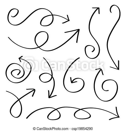 dessiné, flèches, main - csp19854290