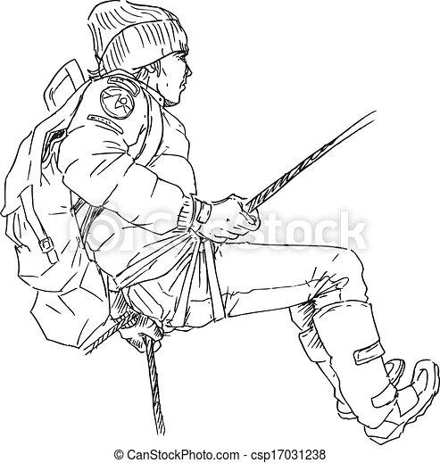 dessiné, main, grimpeur, montagne - csp17031238