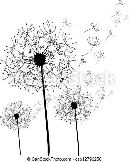 Dessin main isol pissenlit fichier coloring - Dessin fleur pissenlit ...