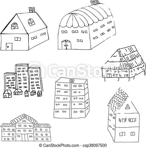 dessiné, main, maisons - csp38097500