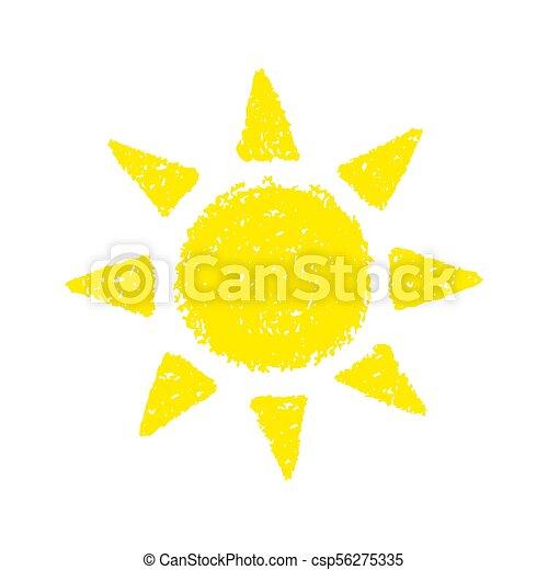 dessiné, main, soleil - csp56275335
