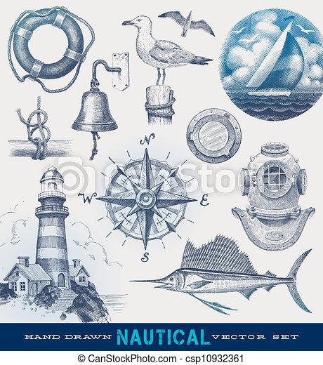 dessiné, nautique, vecteur, ensemble, main - csp10932361