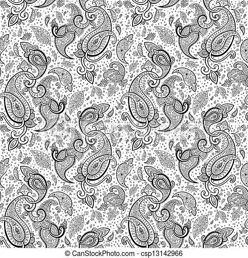 dessiné, paisley, ornament., main - csp13142966