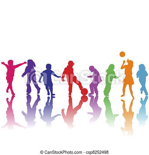 dessiné, silhouettes, main, jouer, enfants - csp8252498