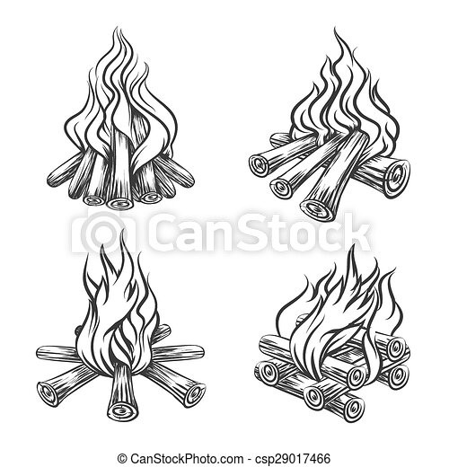 dessin vecteur ensemble feu main croquis brulure set bois br ler illustration main. Black Bedroom Furniture Sets. Home Design Ideas