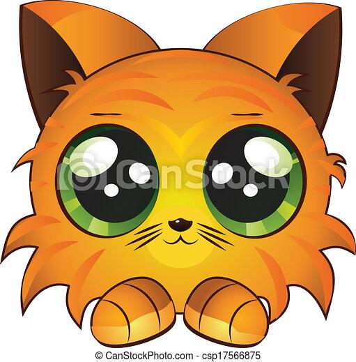 Très Vecteurs illustration de dessin animé, chaton rouge - mignon  AH58