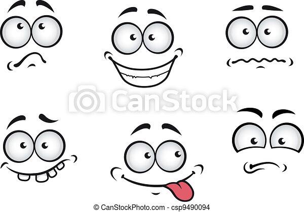 dessin animé, émotions, faces - csp9490094