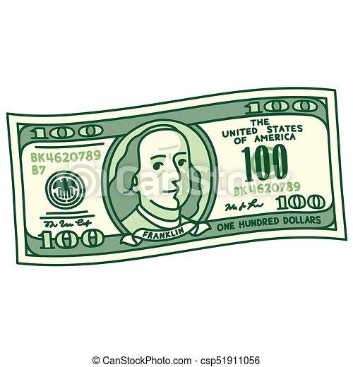 dessin animé, 100, note, dollar - csp51911056