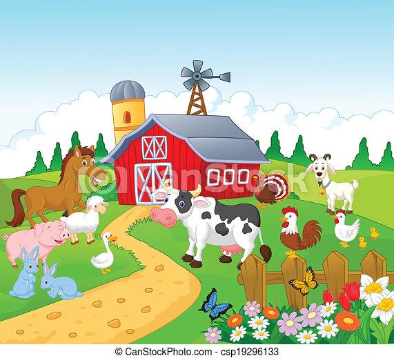 dessin animé, animal, fond, ferme - csp19296133
